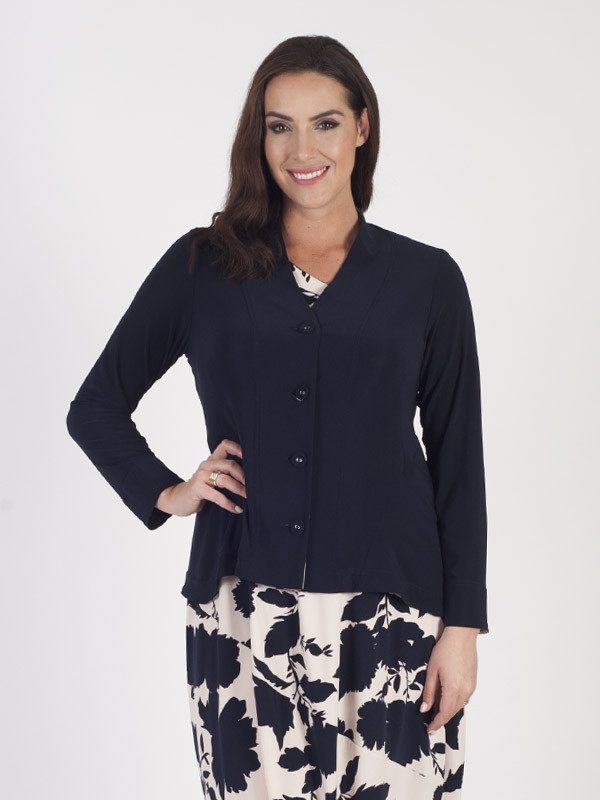 Navy Jersey Jacket With Contrast Print Trim - neckline: v-neck; pattern: plain; predominant colour: navy; occasions: casual; length: standard; style: standard; fibres: polyester/polyamide - stretch; fit: slim fit; sleeve length: long sleeve; sleeve style: standard; texture group: knits/crochet; pattern type: knitted - fine stitch; season: s/s 2016; wardrobe: basic
