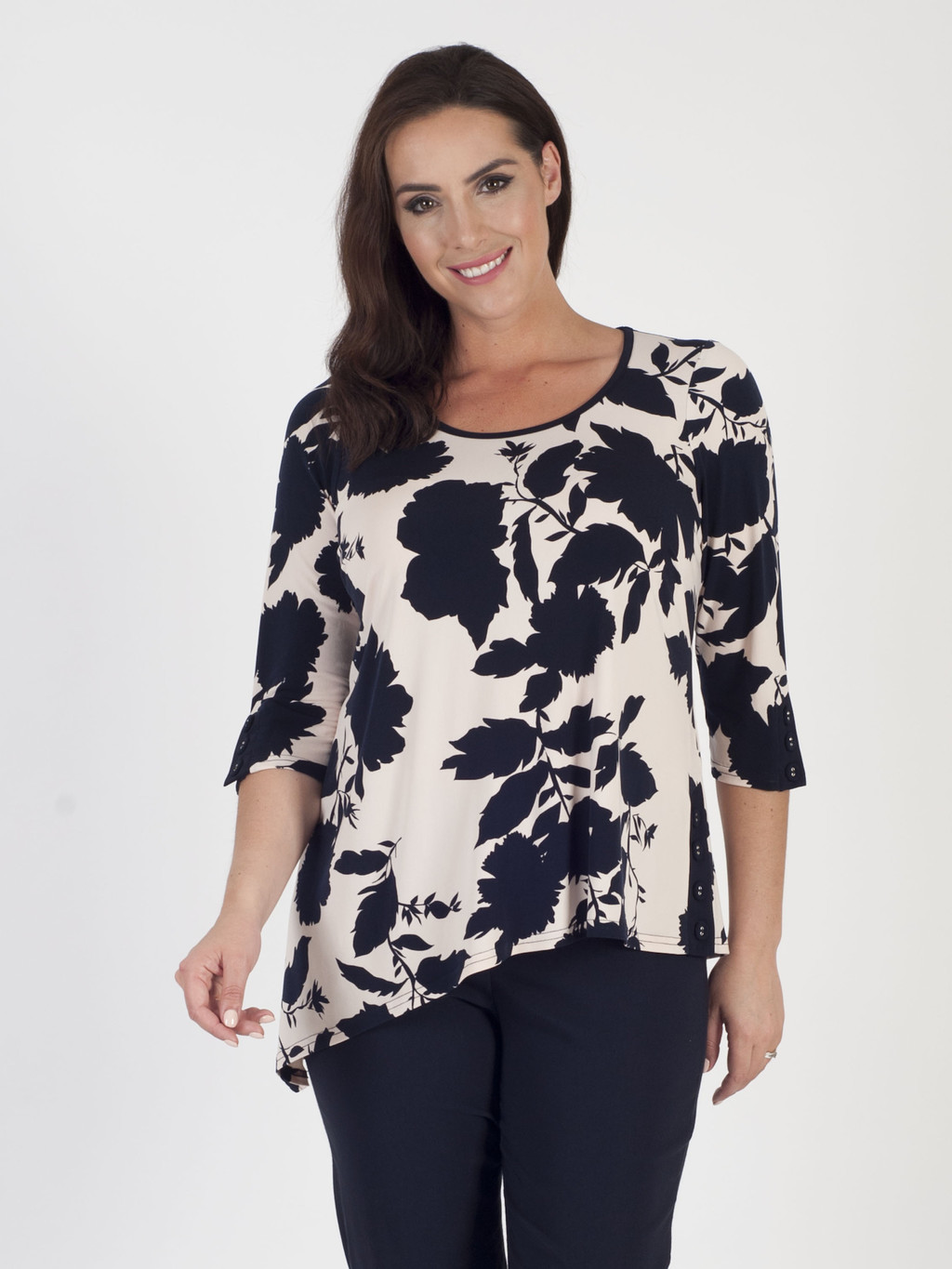 Blush/Navy Floral Print Jersey Tunic - neckline: round neck; predominant colour: ivory/cream; secondary colour: black; occasions: casual; length: standard; style: top; fibres: polyester/polyamide - stretch; fit: body skimming; sleeve length: 3/4 length; sleeve style: standard; texture group: silky - light; pattern type: fabric; pattern: florals; pattern size: big & busy (top); multicoloured: multicoloured; season: s/s 2016; wardrobe: highlight