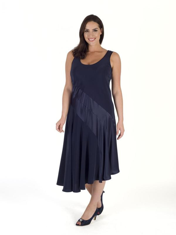 Navy Satin Back Crepe Dress - length: calf length; neckline: round neck; pattern: plain; sleeve style: sleeveless; predominant colour: navy; occasions: evening; fit: body skimming; style: asymmetric (hem); fibres: polyester/polyamide - mix; sleeve length: sleeveless; texture group: crepes; pattern type: fabric; season: s/s 2016