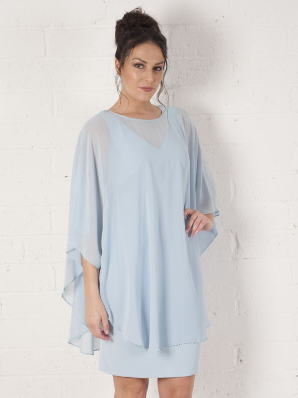 Apple Mist Dress With Long Chiffon Bead Trim Cape - style: shift; sleeve style: dolman/batwing; pattern: plain; predominant colour: pale blue; occasions: evening; length: just above the knee; fit: body skimming; fibres: viscose/rayon - 100%; neckline: crew; sleeve length: 3/4 length; texture group: sheer fabrics/chiffon/organza etc.; pattern type: fabric; season: s/s 2016; wardrobe: event