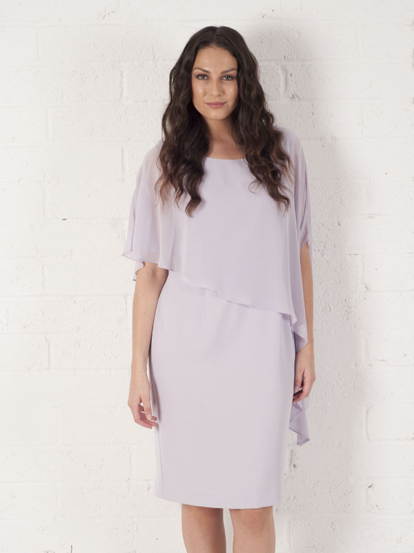 Orchid Mist Dress With Asymmetric Chiffon Cape - style: shift; pattern: plain; bust detail: subtle bust detail; predominant colour: lilac; occasions: evening; length: on the knee; fit: body skimming; fibres: viscose/rayon - 100%; neckline: crew; sleeve length: short sleeve; sleeve style: standard; texture group: sheer fabrics/chiffon/organza etc.; pattern type: fabric; season: s/s 2016; wardrobe: event