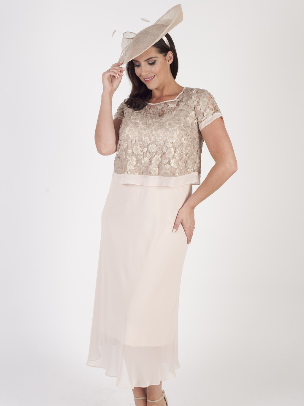 Blush Trellis Appliqué Lace & Chiffon Dress - style: shift; length: calf length; pattern: plain; predominant colour: ivory/cream; occasions: evening; fit: body skimming; fibres: polyester/polyamide - mix; neckline: crew; sleeve length: short sleeve; sleeve style: standard; texture group: sheer fabrics/chiffon/organza etc.; pattern type: fabric; embellishment: lace; season: s/s 2016; wardrobe: event; embellishment location: top