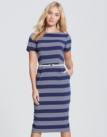 Stripe Pencil Belt Dress - style: shift; length: below the knee; pattern: horizontal stripes; hip detail: draws attention to hips; waist detail: belted waist/tie at waist/drawstring; secondary colour: pale blue; predominant colour: navy; occasions: evening; fit: body skimming; fibres: cotton - stretch; neckline: crew; sleeve length: short sleeve; sleeve style: standard; pattern type: fabric; texture group: jersey - stretchy/drapey; multicoloured: multicoloured; season: s/s 2016; wardrobe: event