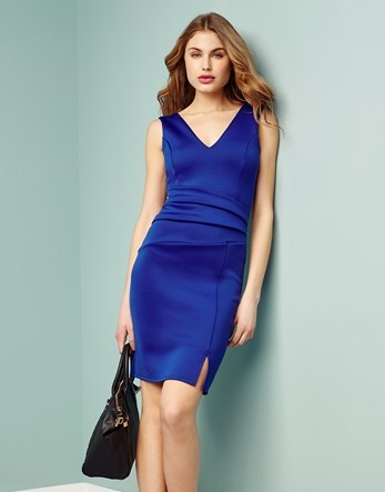 Pleated Bodycon Dress - neckline: v-neck; fit: tight; pattern: plain; sleeve style: sleeveless; style: bodycon; predominant colour: royal blue; occasions: evening; length: just above the knee; fibres: polyester/polyamide - stretch; sleeve length: sleeveless; texture group: jersey - clingy; pattern type: fabric; season: s/s 2016
