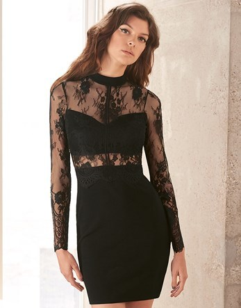 Sheer Waist Lace Top Bodycon Dress - length: mid thigh; fit: tight; pattern: plain; neckline: high neck; style: bodycon; bust detail: sheer at bust; predominant colour: black; occasions: evening; fibres: polyester/polyamide - stretch; sleeve length: long sleeve; sleeve style: standard; texture group: jersey - clingy; pattern type: fabric; shoulder detail: sheer at shoulder; season: s/s 2016; wardrobe: event