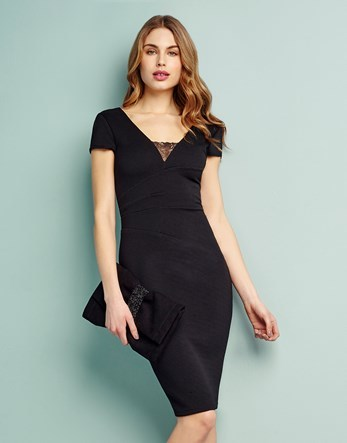 Ribbed Bodycon Dress - neckline: v-neck; fit: tight; pattern: plain; style: bodycon; predominant colour: black; occasions: evening; length: on the knee; fibres: polyester/polyamide - stretch; sleeve length: short sleeve; sleeve style: standard; texture group: jersey - clingy; pattern type: fabric; embellishment: lace; season: s/s 2016