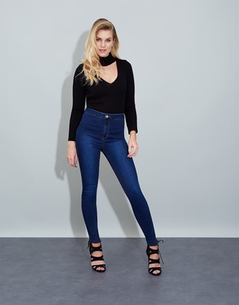 High Rise Skinny Jeans - style: skinny leg; length: standard; pattern: plain; waist: high rise; predominant colour: navy; occasions: casual; fibres: cotton - stretch; texture group: denim; pattern type: fabric; season: s/s 2016; wardrobe: basic