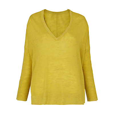 V Neck Marl Jumper - neckline: v-neck; pattern: plain; length: below the bottom; style: standard; predominant colour: yellow; occasions: casual, creative work; fibres: acrylic - mix; fit: loose; sleeve length: long sleeve; sleeve style: standard; texture group: knits/crochet; pattern type: knitted - fine stitch; season: s/s 2016; wardrobe: highlight