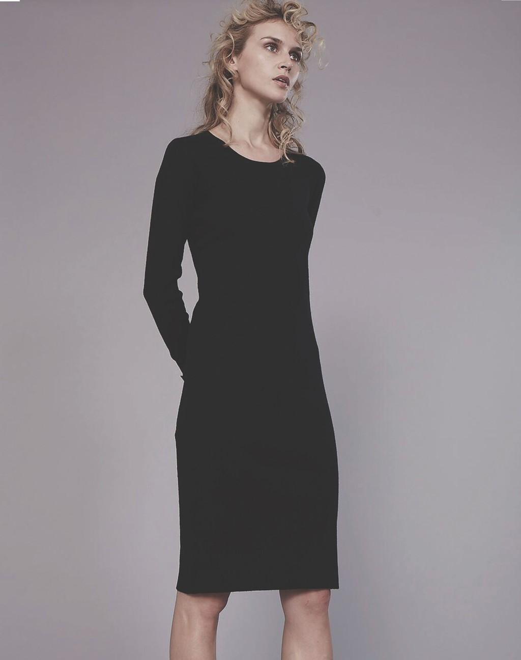 2 In 1 Skinny Rib Dress - fit: tight; pattern: plain; style: bodycon; predominant colour: black; occasions: evening; length: on the knee; fibres: wool - 100%; neckline: crew; sleeve length: long sleeve; sleeve style: standard; texture group: jersey - clingy; pattern type: fabric; season: s/s 2016; wardrobe: event