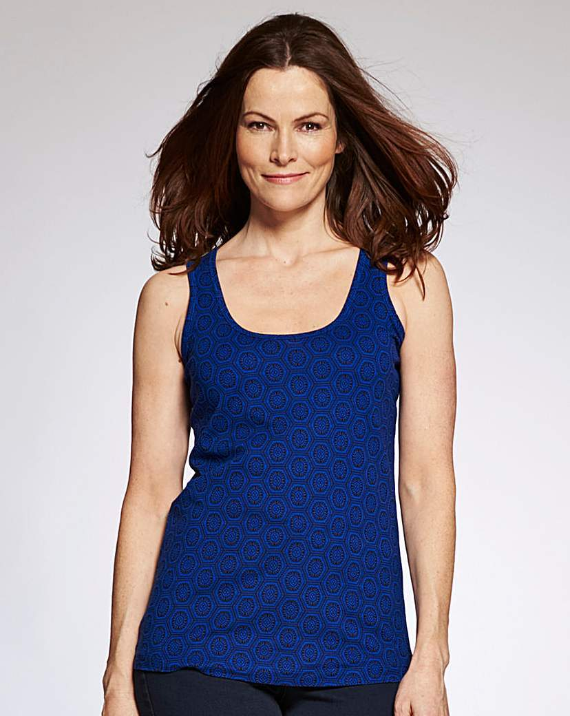 Cobalt Print Jersey Vest - neckline: round neck; pattern: plain; sleeve style: sleeveless; style: vest top; predominant colour: navy; occasions: casual; length: standard; fibres: cotton - 100%; fit: body skimming; sleeve length: sleeveless; pattern type: fabric; texture group: jersey - stretchy/drapey; season: s/s 2016; wardrobe: basic