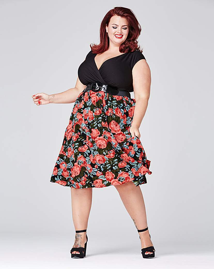 Floral Dress With Belt - length: below the knee; neckline: low v-neck; sleeve style: sleeveless; waist detail: belted waist/tie at waist/drawstring; secondary colour: pink; predominant colour: black; fit: fitted at waist & bust; style: fit & flare; fibres: polyester/polyamide - stretch; occasions: occasion; sleeve length: sleeveless; pattern type: fabric; pattern size: standard; pattern: patterned/print; texture group: other - light to midweight; multicoloured: multicoloured; season: s/s 2016; wardrobe: event