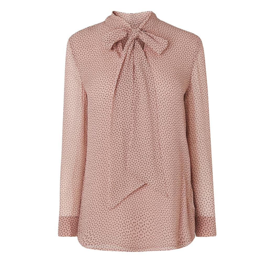 Harriet Printed Pussy Bow Blouse Pink Mink - neckline: pussy bow; style: blouse; predominant colour: blush; secondary colour: black; occasions: casual, creative work; length: standard; fibres: silk - 100%; fit: body skimming; sleeve length: long sleeve; sleeve style: standard; texture group: silky - light; pattern type: fabric; pattern: patterned/print; season: s/s 2016; wardrobe: highlight