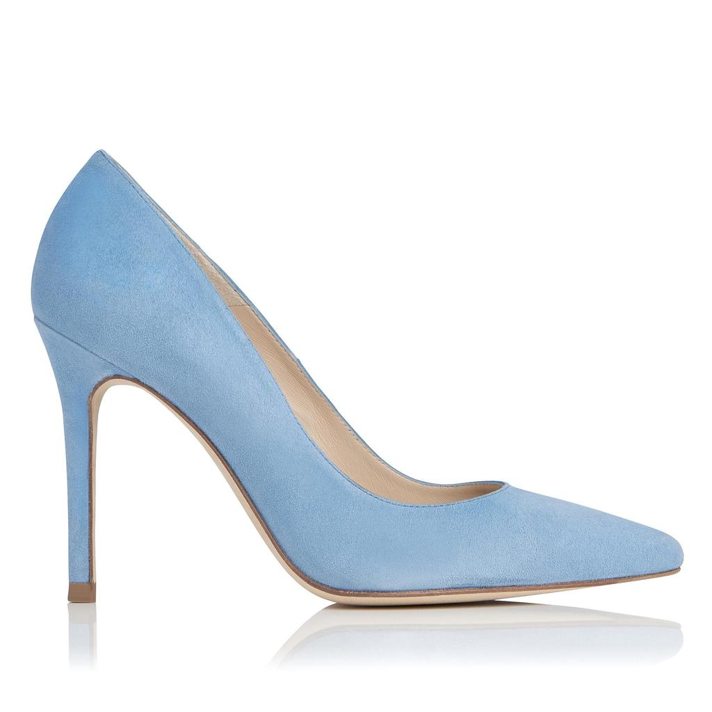 Fern Persian Blue Suede Courts Blue Persian Blue - predominant colour: pale blue; occasions: evening; material: suede; heel height: high; heel: stiletto; toe: pointed toe; style: courts; finish: plain; pattern: plain; season: s/s 2016; wardrobe: event