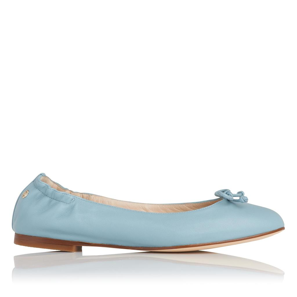 Thea Eau De Nil Flat Ballet Pump Blue Eau De Nil - predominant colour: pale blue; occasions: casual; material: leather; heel height: flat; toe: round toe; style: ballerinas / pumps; finish: plain; pattern: plain; embellishment: bow; season: s/s 2016; wardrobe: highlight