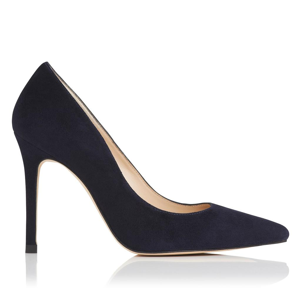 Fern Blue Suede Closed Courts - predominant colour: navy; occasions: evening; material: suede; heel height: high; heel: stiletto; toe: pointed toe; style: courts; finish: plain; pattern: plain; season: s/s 2016; wardrobe: event