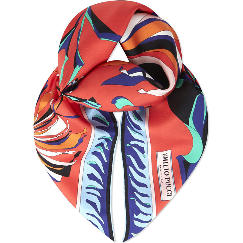 Feather Print Silk Scarf, Women's, Red - predominant colour: true red; secondary colour: royal blue; occasions: casual, creative work; type of pattern: light; style: square; size: standard; material: silk; pattern: patterned/print; multicoloured: multicoloured; season: s/s 2016; wardrobe: highlight