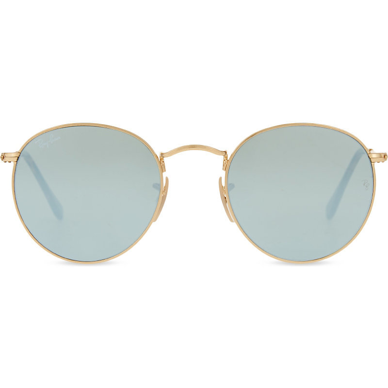 Rb3447 Round Frame Sunglasses, Women's, Shiny Gold - predominant colour: gold; style: round; size: standard; material: chain/metal; pattern: plain; occasions: holiday; finish: metallic; season: s/s 2016; wardrobe: basic