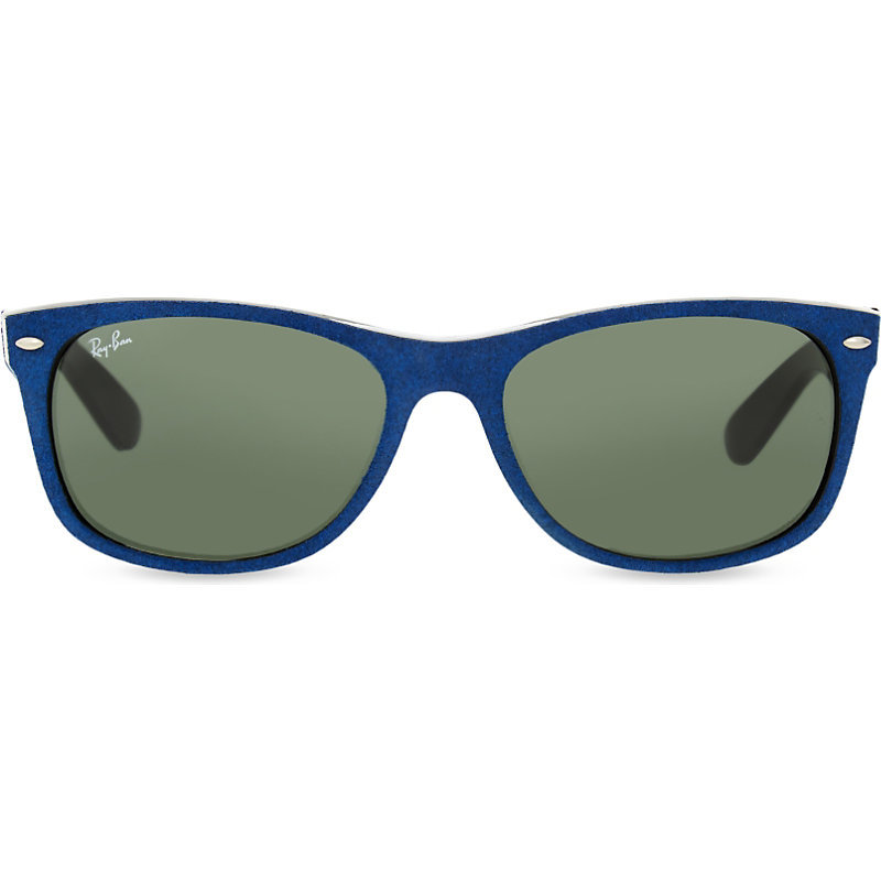 Rb2132 New Wayfarer Soft Touch Sunglasses, Women's, Alcantara - predominant colour: navy; style: d frame; size: standard; material: plastic/rubber; pattern: plain; occasions: holiday; finish: plain; season: s/s 2016; wardrobe: basic