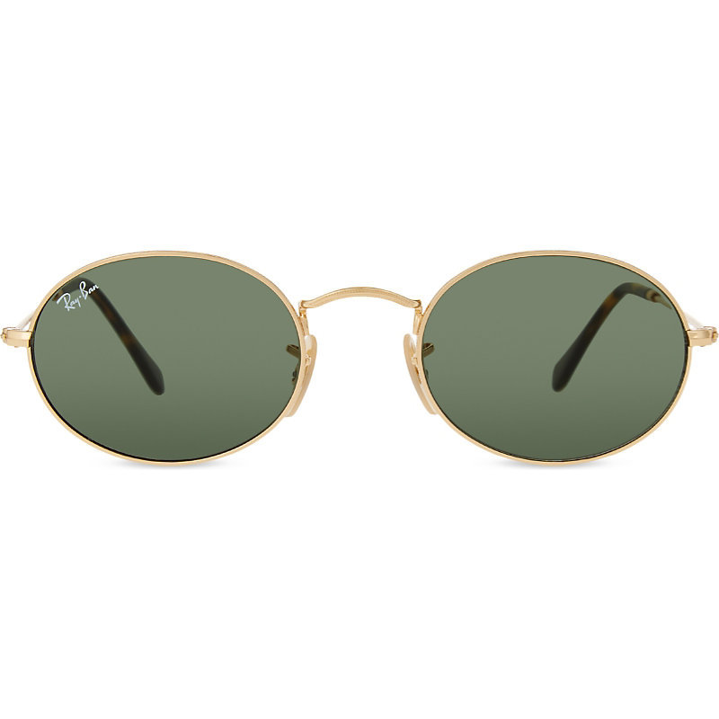 Rb3547 Oval Frame Sunglasses, Women's, Gold - predominant colour: gold; style: round; size: standard; material: plastic/rubber; pattern: plain; occasions: holiday; finish: metallic; season: s/s 2016; wardrobe: basic