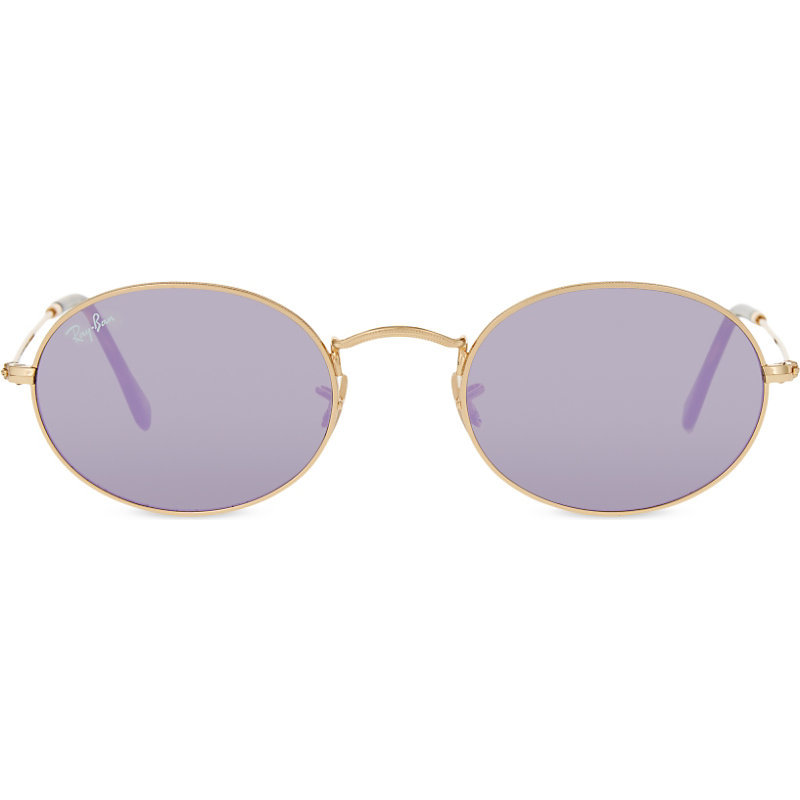 Rb3547 Oval Frame Sunglasses, Women's, Gold - predominant colour: ivory/cream; style: round; size: standard; material: chain/metal; pattern: plain; occasions: holiday; finish: metallic; season: s/s 2016; wardrobe: basic