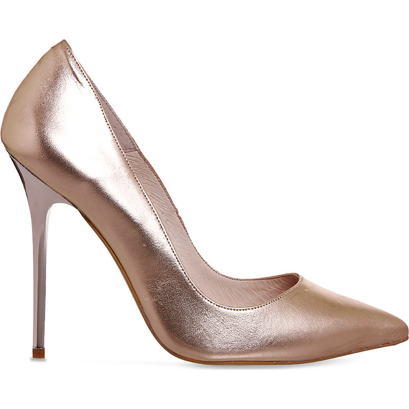 On To Point Metallic Leather Courts, Women's, Rose Gold Leather 2 - predominant colour: gold; occasions: evening, occasion; material: leather; heel: stiletto; toe: pointed toe; style: courts; finish: metallic; pattern: plain; heel height: very high; season: s/s 2016; wardrobe: event