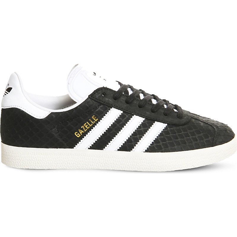 Gazelle Leather Trainers, Women's, Black Crystal Snake - predominant colour: black; occasions: casual; material: leather; heel height: flat; toe: round toe; style: trainers; finish: plain; pattern: striped; season: s/s 2016