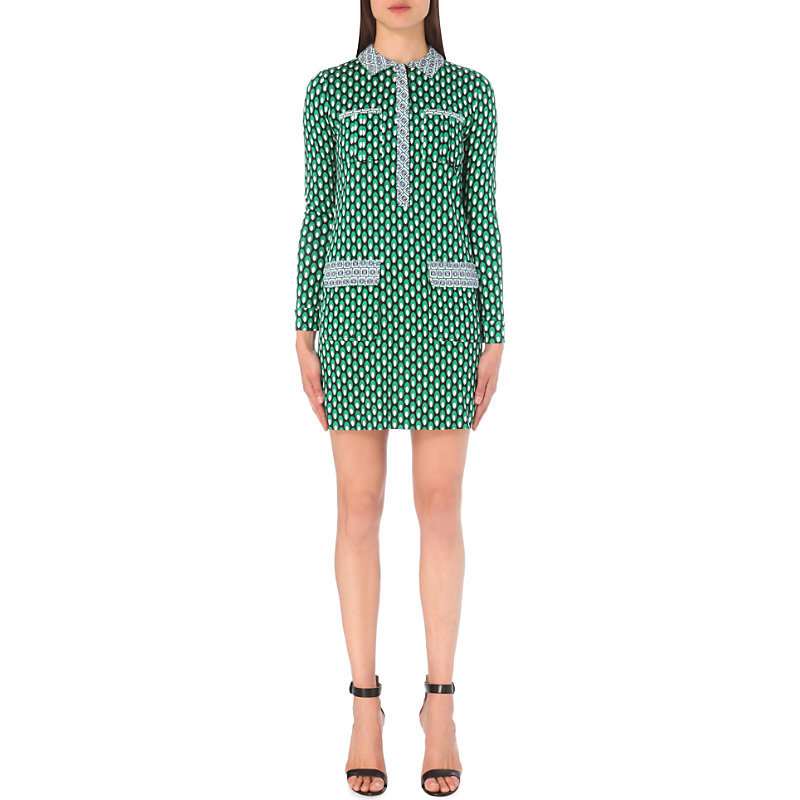 Denny Silk Jersey Shirt Dress, Women's, Dots Green/Diagonal - style: shirt; length: mid thigh; neckline: shirt collar/peter pan/zip with opening; predominant colour: emerald green; secondary colour: light grey; fit: body skimming; fibres: silk - 100%; sleeve length: long sleeve; sleeve style: standard; bust detail: bulky details at bust; pattern type: fabric; pattern: patterned/print; texture group: jersey - stretchy/drapey; occasions: creative work; season: s/s 2016; wardrobe: highlight
