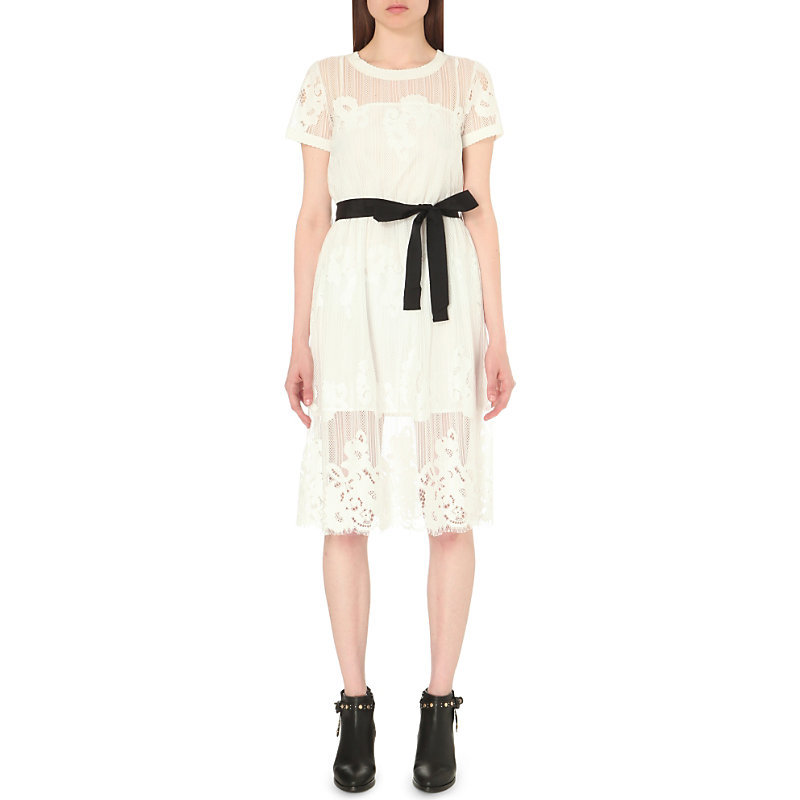 Tactique Lace Dress, Women's, White - waist detail: belted waist/tie at waist/drawstring; predominant colour: ivory/cream; length: on the knee; fit: fitted at waist & bust; style: fit & flare; fibres: polyester/polyamide - 100%; neckline: crew; sleeve length: short sleeve; sleeve style: standard; texture group: lace; pattern type: fabric; pattern size: standard; pattern: patterned/print; embellishment: lace; occasions: creative work; season: s/s 2016; wardrobe: highlight