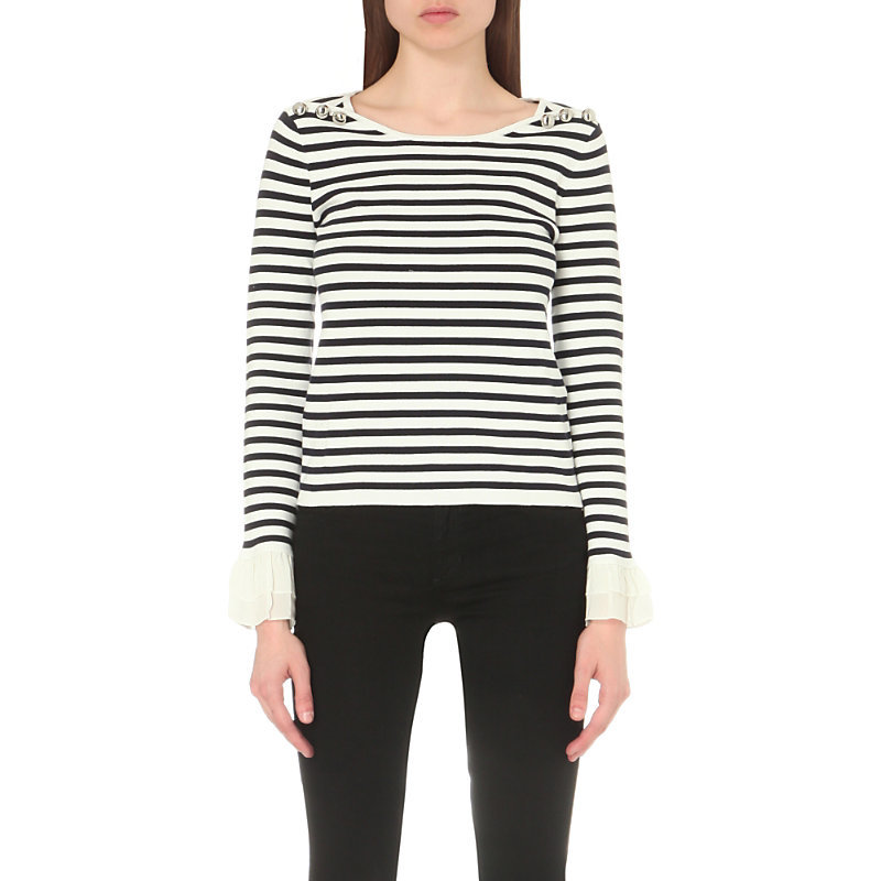 Metal Striped Cotton Jumper, Women's, Size: Medium, White - pattern: horizontal stripes; style: standard; predominant colour: white; secondary colour: black; occasions: casual; length: standard; fibres: cotton - 100%; fit: standard fit; neckline: crew; sleeve length: long sleeve; sleeve style: standard; pattern type: fabric; pattern size: standard; texture group: jersey - stretchy/drapey; multicoloured: multicoloured; season: s/s 2016; wardrobe: highlight
