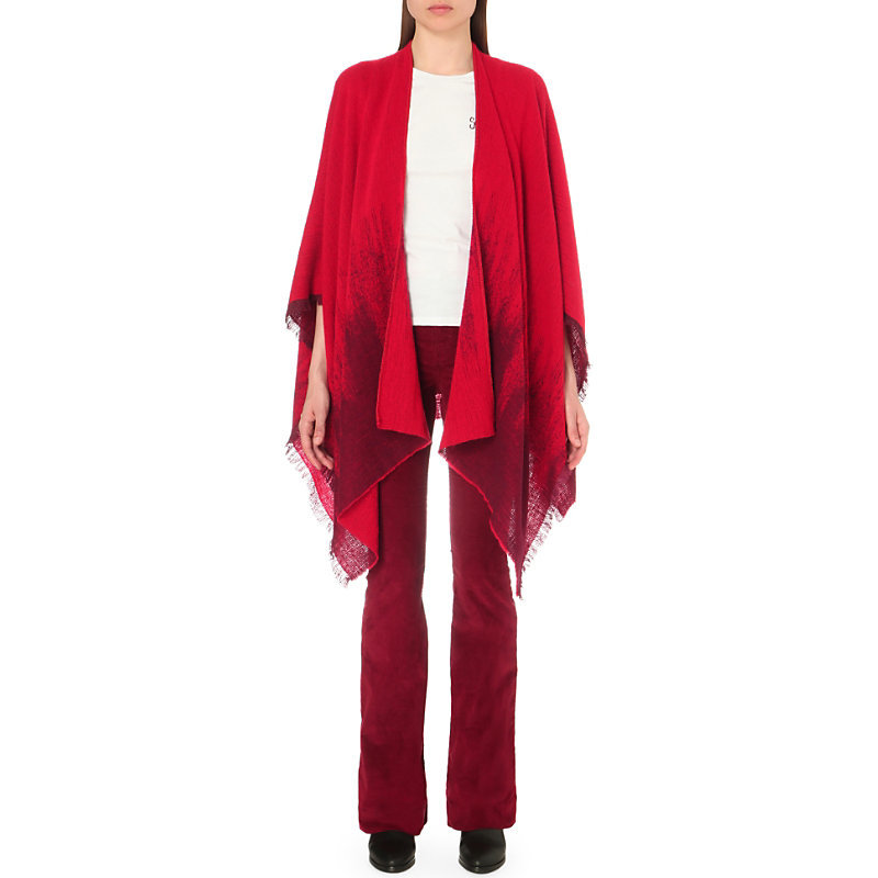 Estragon Wool Blend Poncho, Women's, Rouge Orange - length: below the bottom; collar: shawl/waterfall; fit: loose; style: poncho/blanket; predominant colour: true red; secondary colour: burgundy; occasions: casual; fibres: wool - mix; sleeve length: 3/4 length; sleeve style: standard; texture group: knits/crochet; collar break: low/open; pattern type: knitted - fine stitch; pattern: patterned/print; multicoloured: multicoloured; season: s/s 2016; wardrobe: highlight