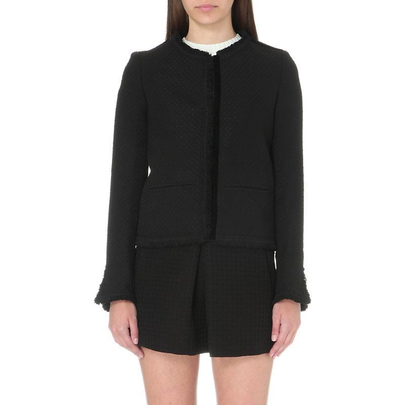 Vala Tweed Jacket, Women's, Black - pattern: plain; collar: round collar/collarless; style: boxy; predominant colour: black; occasions: casual; length: standard; fit: straight cut (boxy); fibres: wool - mix; sleeve length: long sleeve; sleeve style: standard; collar break: high; pattern type: fabric; texture group: tweed - light/midweight; season: s/s 2016; wardrobe: basic