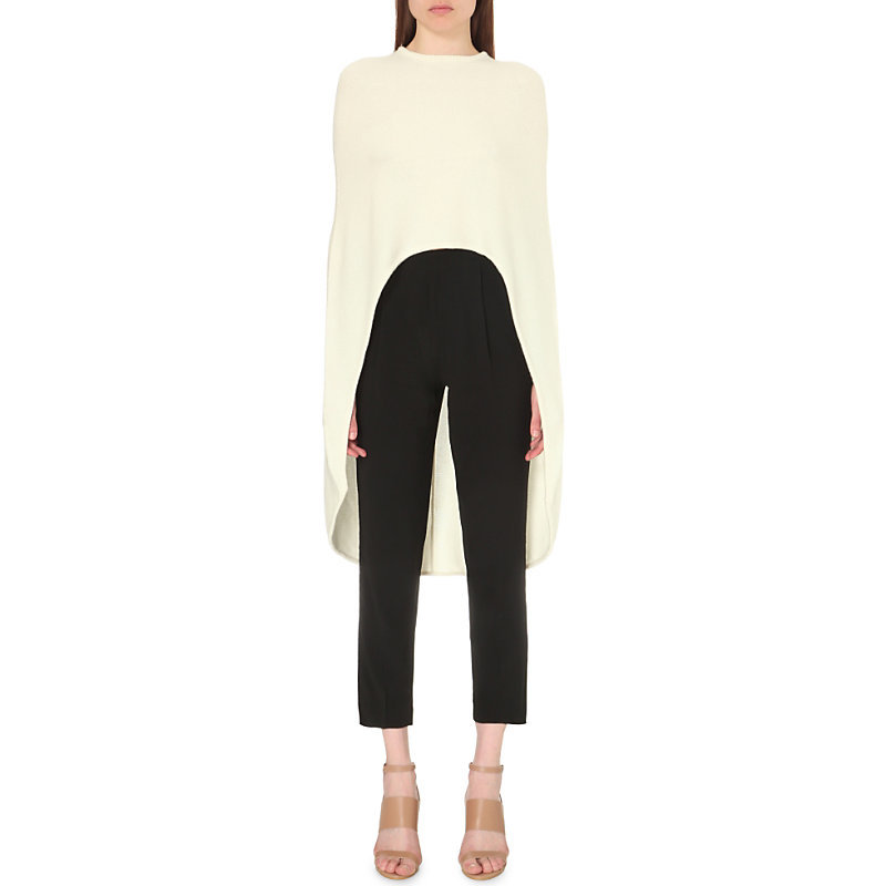 Minimal Wool Blend Cape Top, Women's, Blanc Casse - pattern: plain; length: below the bottom; predominant colour: ivory/cream; occasions: casual; style: top; fibres: wool - mix; fit: loose; sleeve style: cape sleeve; neckline: crew; sleeve length: long sleeve; texture group: knits/crochet; pattern type: knitted - fine stitch; season: s/s 2016; wardrobe: basic