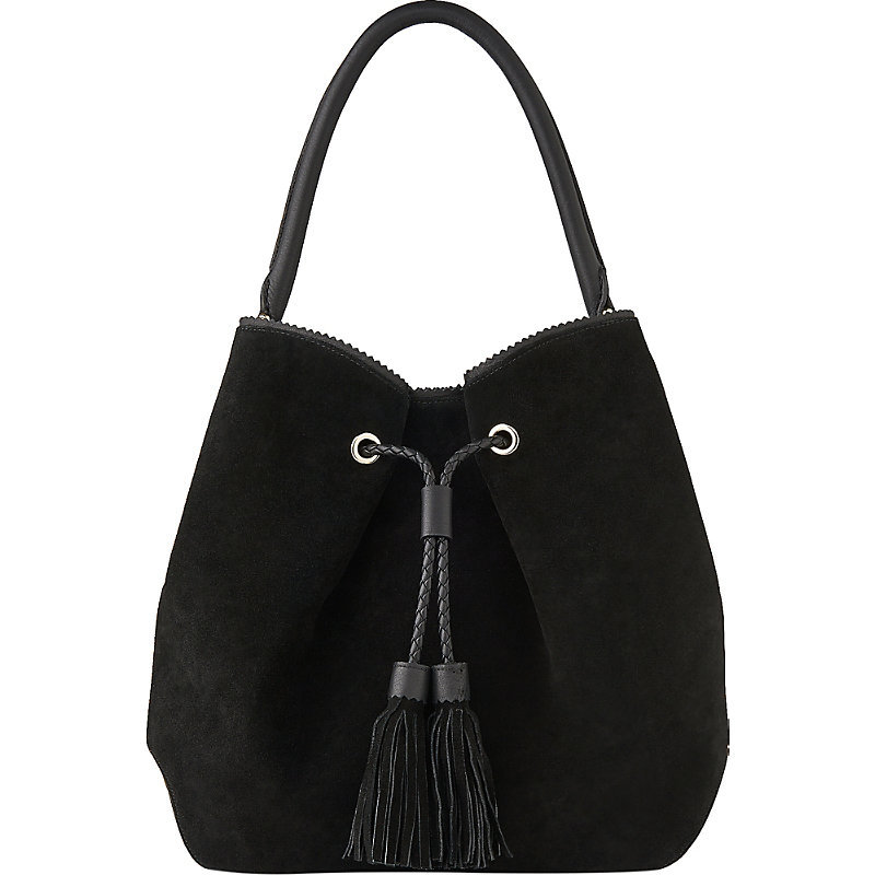 Thelma Suede Bucket Bag, Women's, Bla Black - predominant colour: black; occasions: casual, creative work; type of pattern: standard; style: onion bag; length: shoulder (tucks under arm); size: standard; material: suede; pattern: plain; finish: plain; season: s/s 2016; wardrobe: investment