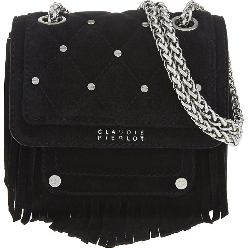 Angel Suede Shoulder Bag, Women's, Noir - predominant colour: black; occasions: casual, creative work; type of pattern: standard; style: shoulder; length: shoulder (tucks under arm); size: small; material: suede; pattern: plain; finish: plain; season: s/s 2016; wardrobe: investment