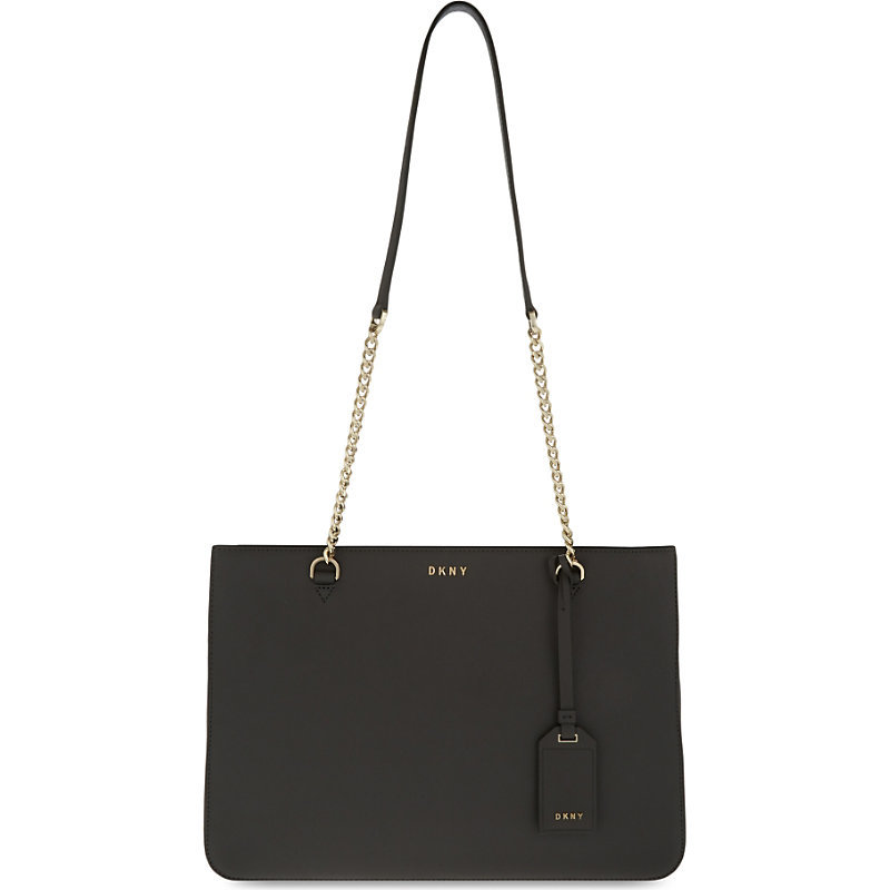 Bryant Park Saffiano Leather Shoulder Bag, Women's, Dk Charcoal - predominant colour: charcoal; occasions: casual, work, creative work; type of pattern: standard; style: shoulder; length: shoulder (tucks under arm); size: standard; material: leather; pattern: plain; finish: plain; season: s/s 2016; wardrobe: investment