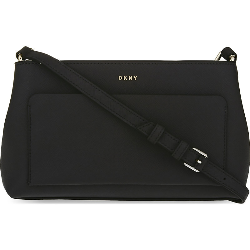 Bryany Park Saffiano Leather Cross Body Bag, Women's, Black - predominant colour: black; occasions: casual, work, creative work; type of pattern: standard; style: shoulder; length: shoulder (tucks under arm); size: standard; material: leather; pattern: plain; finish: plain; season: s/s 2016; wardrobe: investment