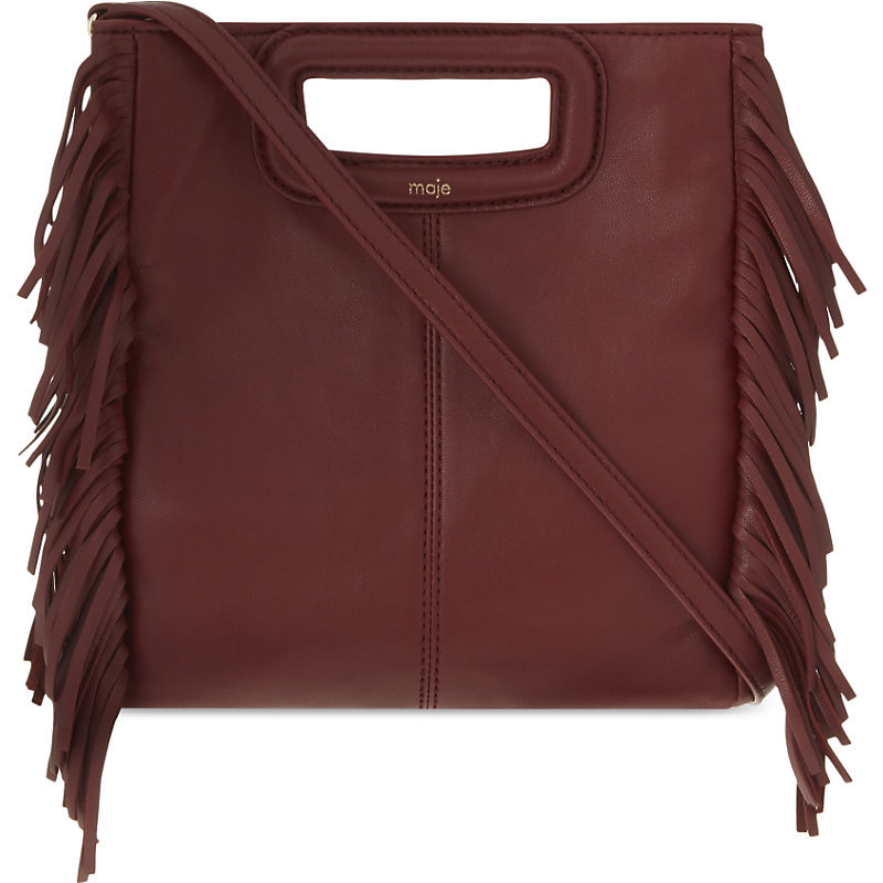 The M Leather Cross Body Bag, Women's, Size: Medium, Red - predominant colour: burgundy; occasions: casual, creative work; type of pattern: standard; style: structured bag; length: across body/long; size: standard; material: leather; embellishment: fringing; pattern: plain; finish: plain; season: s/s 2016