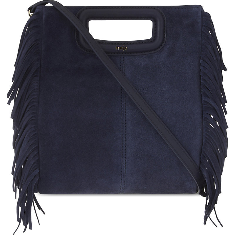 The M Suede Cross Body Bag, Women's, Size: Medium, Dark Blue/Gold - predominant colour: navy; occasions: casual, creative work; type of pattern: standard; style: structured bag; length: across body/long; size: standard; material: suede; embellishment: fringing; pattern: plain; finish: plain; season: s/s 2016; wardrobe: investment