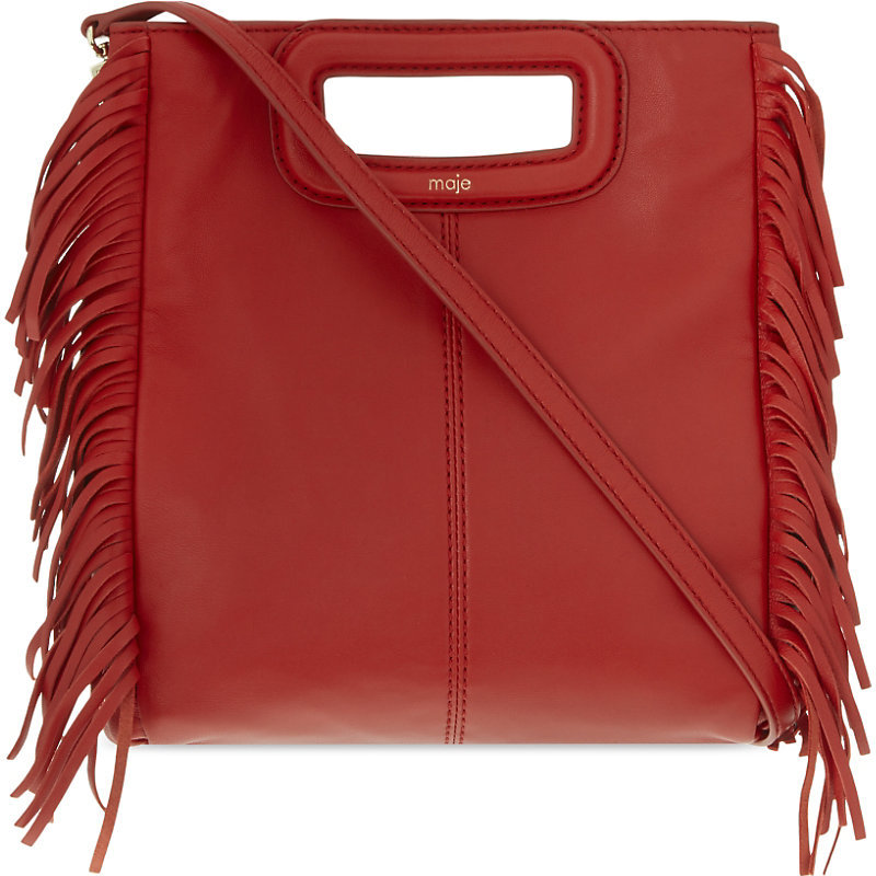 The M Leather Cross Body Bag, Women's, Size: Medium, Rouge - occasions: casual, creative work; type of pattern: standard; style: structured bag; length: across body/long; size: standard; material: leather; embellishment: fringing; pattern: plain; finish: plain; predominant colour: raspberry; season: s/s 2016; wardrobe: highlight