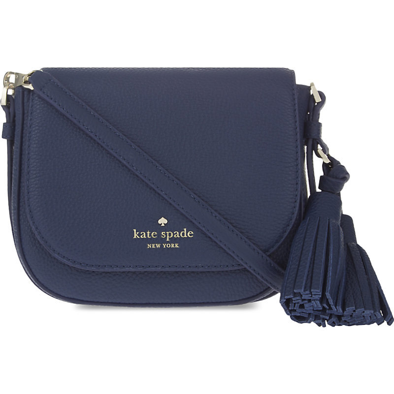 Orchard Street Penelope Small Leather Shoulder Bag, Women's, Inkwell - predominant colour: navy; occasions: casual, creative work; type of pattern: standard; style: saddle; length: across body/long; size: small; material: leather; embellishment: tassels; pattern: plain; finish: plain; season: s/s 2016; wardrobe: basic
