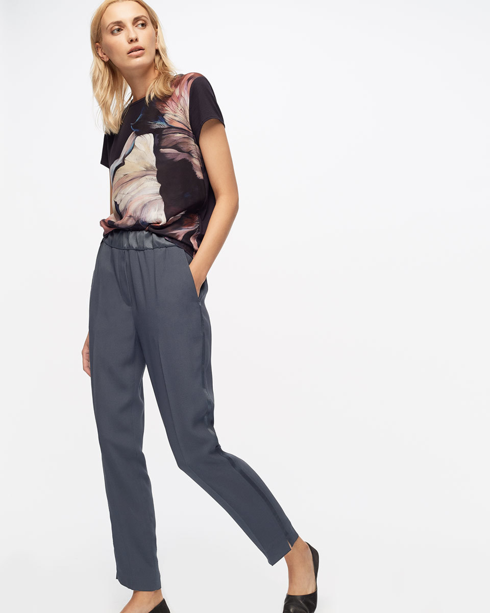 Relaxed Crepe Satin Stripe Trousers - length: standard; pattern: plain; waist: mid/regular rise; predominant colour: silver; occasions: evening; style: chino; texture group: crepes; fit: tapered; pattern type: fabric; fibres: viscose/rayon - mix; season: s/s 2016; wardrobe: event