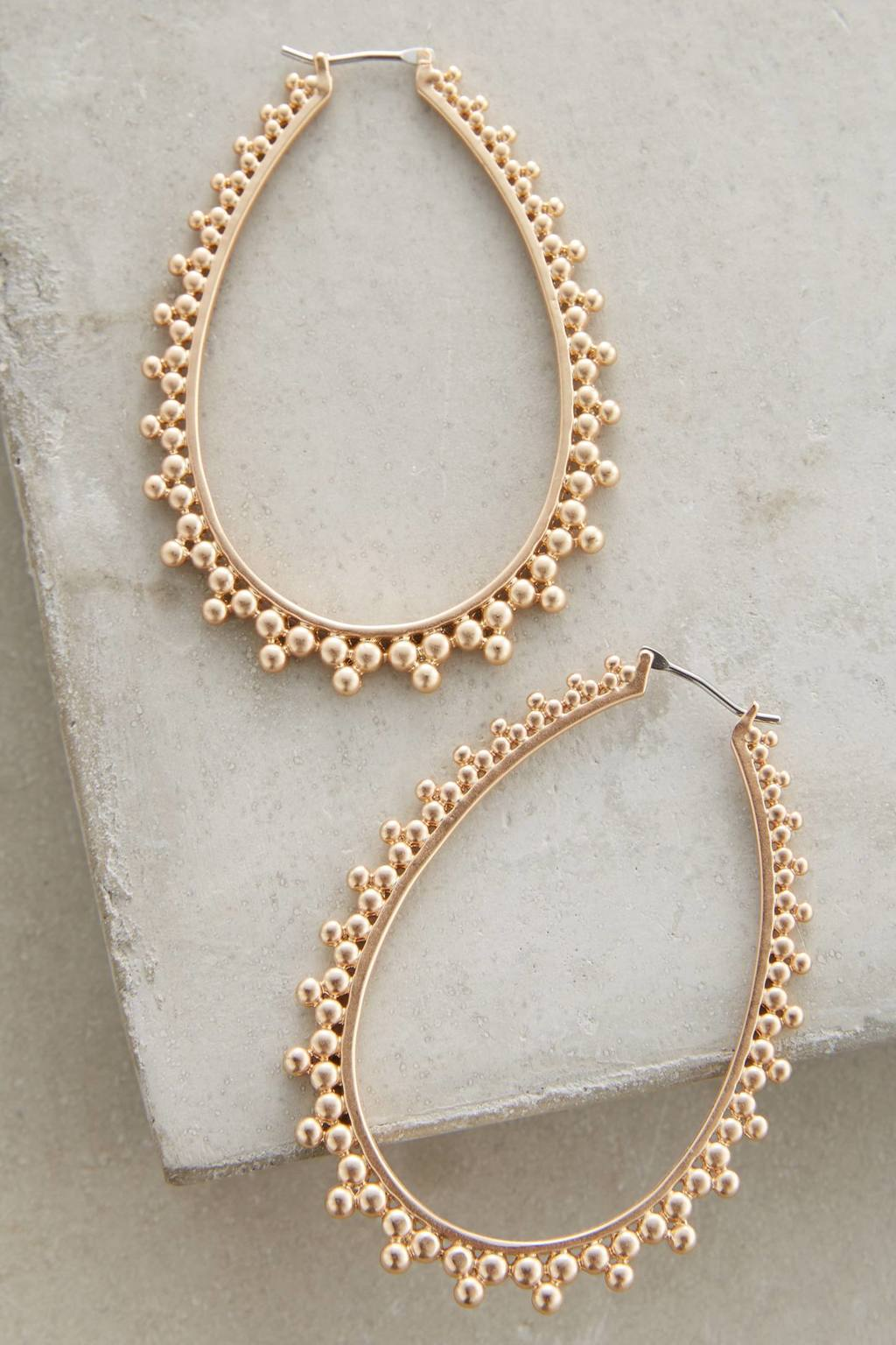 Stippled Hoop Earrings - predominant colour: gold; occasions: evening, occasion; style: hoop; length: mid; size: large/oversized; material: chain/metal; fastening: pierced; finish: metallic; season: s/s 2016; wardrobe: event
