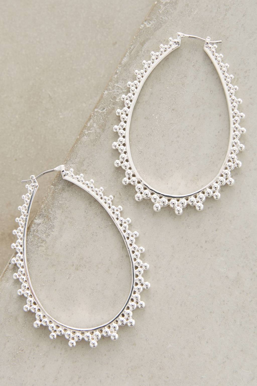Stippled Hoop Earrings - predominant colour: silver; occasions: evening, occasion; style: hoop; length: mid; size: large/oversized; material: chain/metal; fastening: pierced; finish: metallic; season: s/s 2016; wardrobe: event