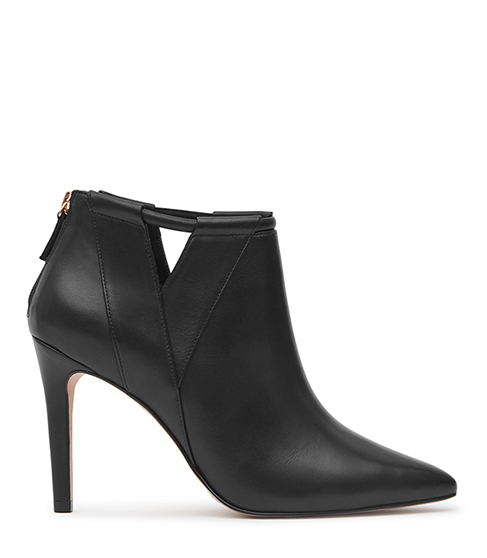 Nicola Point Toe Ankle Boots - predominant colour: black; material: leather; heel height: high; heel: stiletto; toe: pointed toe; boot length: ankle boot; style: standard; finish: plain; pattern: plain; occasions: creative work; season: s/s 2016; wardrobe: highlight