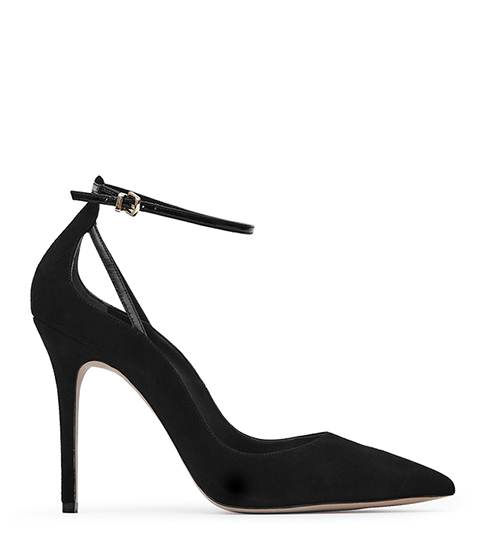 Leighton Ankle Strap Shoes - predominant colour: black; occasions: evening, creative work; material: suede; ankle detail: ankle strap; heel: stiletto; toe: pointed toe; style: courts; finish: plain; pattern: plain; heel height: very high; season: s/s 2016
