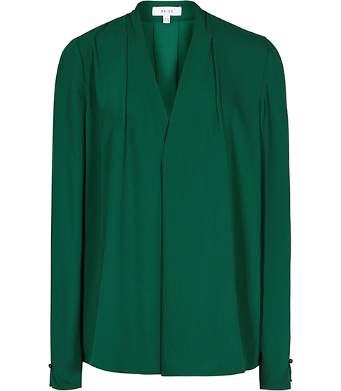 Mapel Metallic Top - neckline: v-neck; pattern: plain; style: wrap/faux wrap; predominant colour: dark green; occasions: evening; length: standard; fibres: polyester/polyamide - 100%; fit: body skimming; sleeve length: long sleeve; sleeve style: standard; texture group: crepes; pattern type: fabric; season: s/s 2016; wardrobe: event