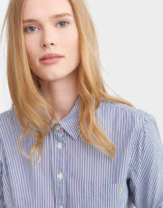 Soft Navy Stripe Lucie Classic Fit Shirt Size 12 | Uk - neckline: shirt collar/peter pan/zip with opening; pattern: vertical stripes; style: shirt; predominant colour: pale blue; occasions: casual; length: standard; fibres: cotton - 100%; fit: body skimming; sleeve length: long sleeve; sleeve style: standard; texture group: cotton feel fabrics; pattern type: fabric; pattern size: standard; season: s/s 2016; wardrobe: highlight