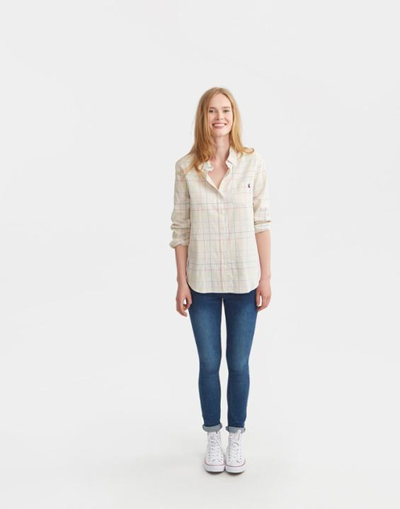 Cream Multi Lucie Classic Fit Shirt Size 12 | Uk - neckline: shirt collar/peter pan/zip with opening; pattern: checked/gingham; style: shirt; predominant colour: ivory/cream; secondary colour: stone; occasions: casual; length: standard; fibres: cotton - 100%; fit: body skimming; sleeve length: long sleeve; sleeve style: standard; texture group: cotton feel fabrics; pattern type: fabric; pattern size: standard; season: s/s 2016; wardrobe: highlight