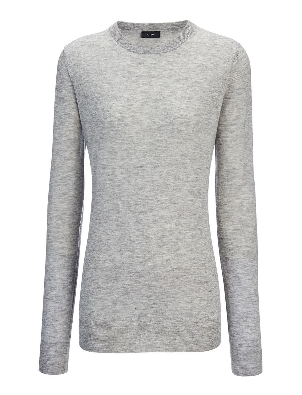 Cashair Top In Marble - pattern: plain; neckline: high neck; hip detail: fitted at hip; predominant colour: light grey; occasions: casual; length: standard; style: top; fit: body skimming; fibres: cashmere - 100%; sleeve length: long sleeve; sleeve style: standard; texture group: knits/crochet; pattern type: knitted - fine stitch; season: s/s 2016; wardrobe: basic