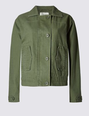 Pure Cotton Utility Jacket - pattern: plain; style: single breasted blazer; predominant colour: khaki; occasions: casual, creative work; length: standard; fit: straight cut (boxy); fibres: cotton - 100%; collar: shirt collar/peter pan/zip with opening; sleeve length: long sleeve; sleeve style: standard; texture group: cotton feel fabrics; collar break: high/illusion of break when open; pattern type: fabric; season: s/s 2016
